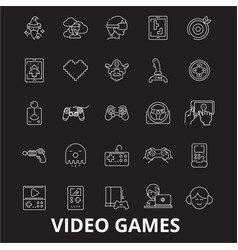 Video games editable line icons set on vector
