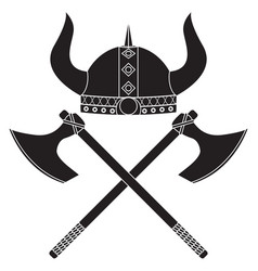 viking axe and shield viking helmet medieval vector image
