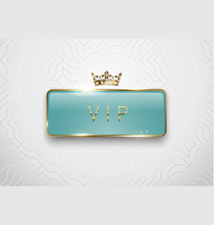 vip light green glass label with golden frame vector image