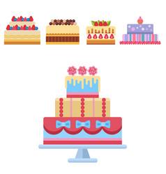 wedding cake pie sweets dessert bakery flat simple vector image