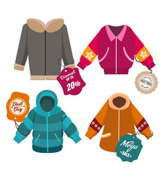Winter sale coats labels vector