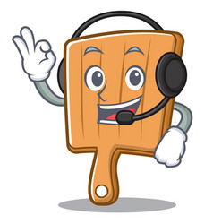 With headphone kitchen board character cartoon vector