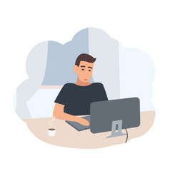 Young man sitting at desk and surfing internet vector