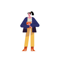 Young teacher woman with books character vector