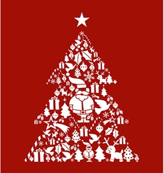 Christmas icon set in pine tree shape vector image vector image
