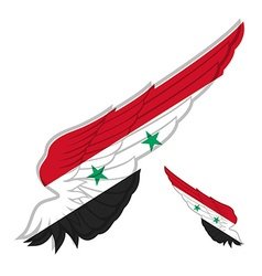 Flag of Syria on Abstract wing and white vector image