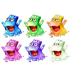 Six colorful monsters vector image vector image