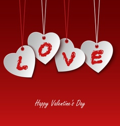 Valentines card with hearts and the word love vector image