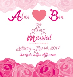 Wedding Invitation Card Template With Rose Frame vector image