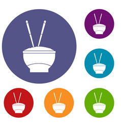 Bowl of rice with chopsticks icons set vector
