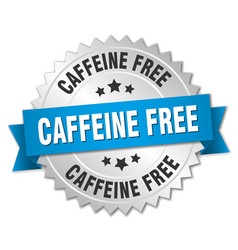 Caffeine free round isolated silver badge vector