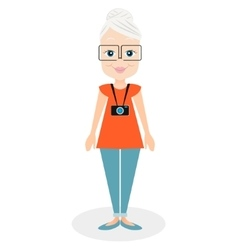 Cartoon character elderly woman a girl aged vector image