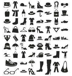 clothing and footwear icons on white vector image