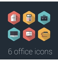 colorful business and office flat design icons set vector image vector image