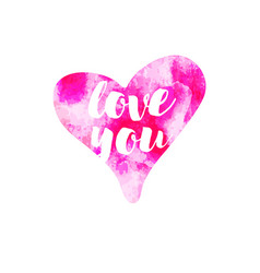 pink watercolour hearts love you on white vector image