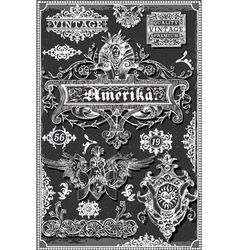 Vintage Hand Drawn American Banners and Labels on vector image