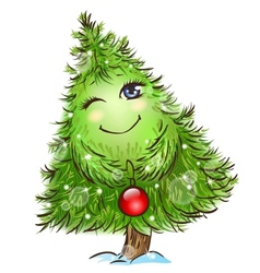 Cute little christmas tree vector image