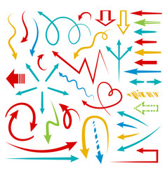 isolated hand drawn arrows set bright color vector image