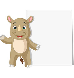 rhino with blank sign vector image