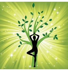 Woman meditating yoga vector
