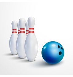 Bowling realistic background Bowling game leisure vector image vector image