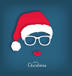 christmas girl in the hat of santa claus vector image vector image