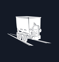 coal mine trolley on a black background vector image