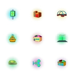 Construction of city icons set pop-art style vector image