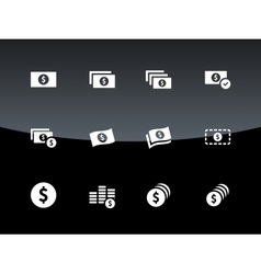Dollar Banknote icons on black background vector image vector image
