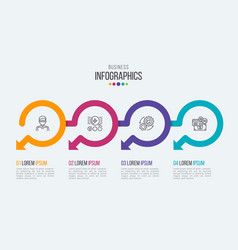four steps timeline infographic template with vector image vector image