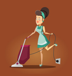 housewife cleaning the house with vacuum cleaner vector image