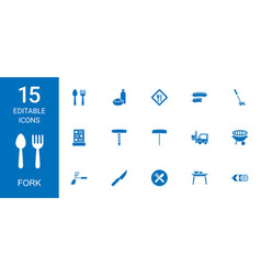 15 fork icons vector