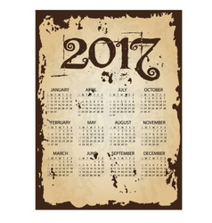 2017 simple business wall calendar with torn old vector image