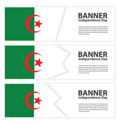 Algeria flag banners collection independence day vector