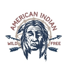American indian t-shirt graphic vector image