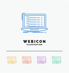 Api app coding developer laptop 5 color line web vector
