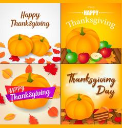 Autumn thanksgiving day banner set isometric vector