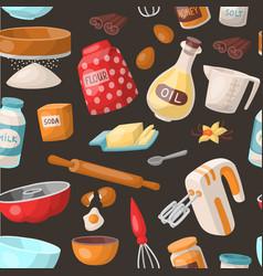 Baking cooking ingredients bake making vector