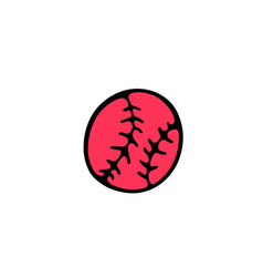 baseball ball icon in doodle style isolated on vector image