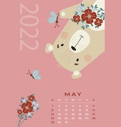 Bear calendar may 2022 cute with flowers vector