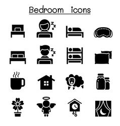 Bedroom sleeping icon vector