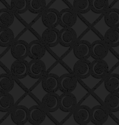Black textured plastic swirls in square grid vector image