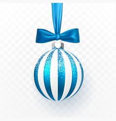 blue christmas ball with blue bow xmas glass ball vector image