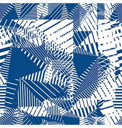 Blue geometric tiles seamless pattern single color vector