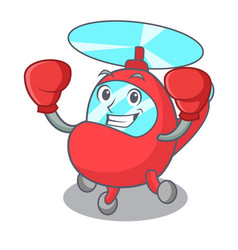 Boxing helicopter character cartoon style vector