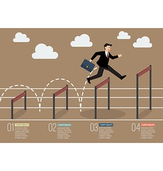 Businessman jumping over higher hurdle infographic vector