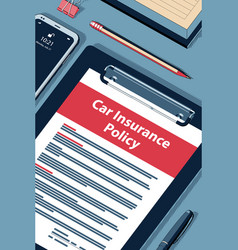Car insurance policy - halftone isometric vector