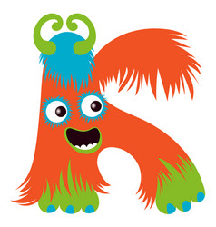 cartoon capital letter k from monster alphabet vector image