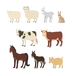 Cartoon set sheep goat donkey horse cow bull pig vector image