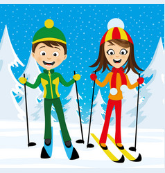 cheerful skiers in the forest vector image